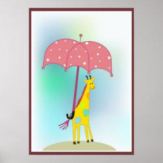giraffe with an umbrella poster