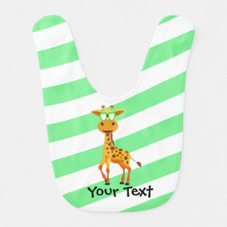 giraffe with green glasses bib