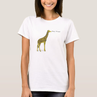 "Giraffe with long neck saying ""Deep Throat?"" T-Shirt"
