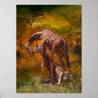 Giraffe World Art Poster/Print Poster