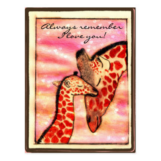 "Giraffes - ""Always remember I love you!"" Postcard"