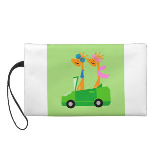 Giraffes and Car Wristlet Clutch