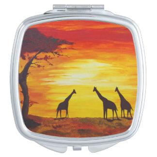Giraffes at Sunset (Kimberly Turnbull Art) Compact Mirrors
