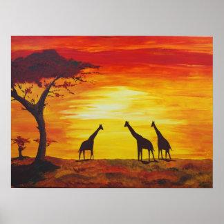 Giraffes At Sunset (Kimberly Turnbull Art) Poster