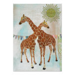 "Giraffes Baby Shower Sunshine Invitation 5"" X 7"" Invitation Card"
