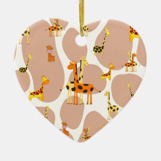 Giraffes Ceramic Heart Decoration