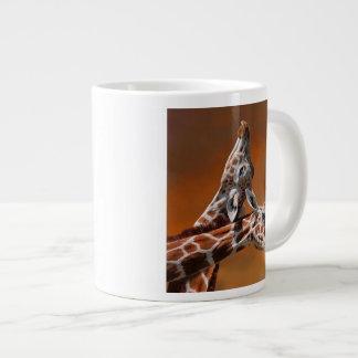 Giraffes couple in love large coffee mug