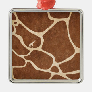 Giraffes! exotic animal print design! Silver-Colored square decoration