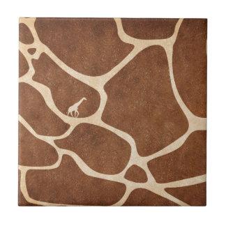 Giraffes! exotic animal print design! small square tile