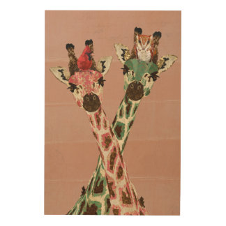 GIRAFFES & FEATHERS Wooden Canvas Wood Print