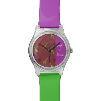 GIRAFFES & FLOWERS with your own message Watch