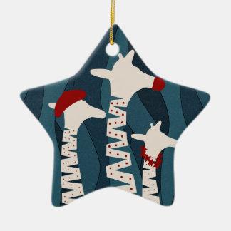 Giraffes Holiday Season Design Ceramic Ornament
