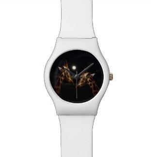 Giraffes In The Moonlight, Ladies White May Watch. Wristwatch