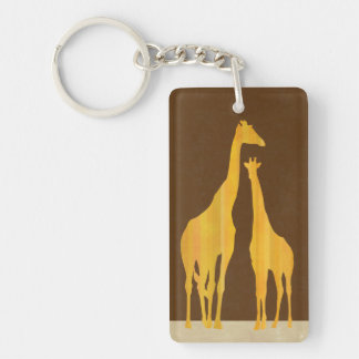 Giraffes key holder Double-Sided rectangular acrylic key ring