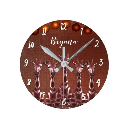 Giraffes & Lights Rustic Brown Chic Personalised Round Clock