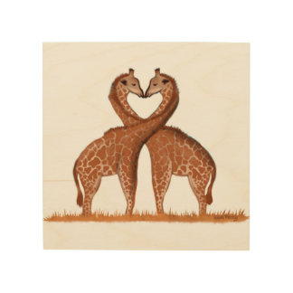 Giraffes Love Heart Wood Panel Wall Art