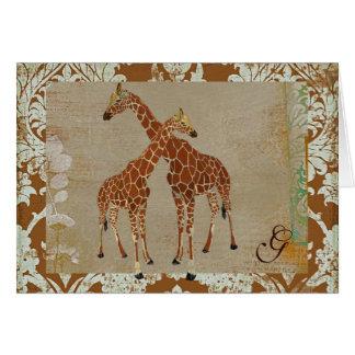 Giraffes Monogram Notecard Cards