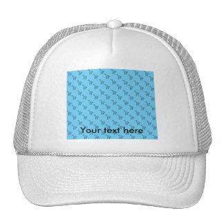 Giraffes on blue pattern mesh hats