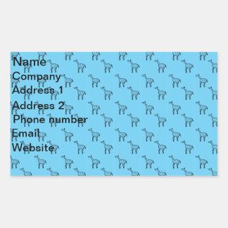 Giraffes on blue pattern rectangle stickers