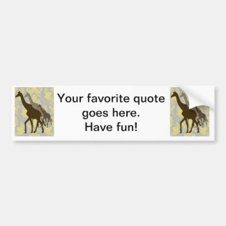 Giraffes on Damask Floral - Yellow and Grey. Bumper Sticker