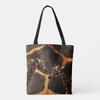 Giraffes On Exotic Giraffe Background, Tote Bag