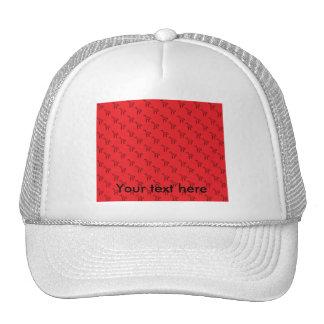 Giraffes on red pattern trucker hats