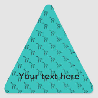 Giraffes on turquoise pattern triangle sticker