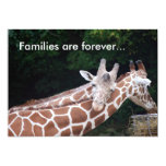 giraffes rubbing necks, Families are forever... 5x7 Paper Invitation Card
