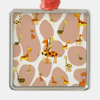 Giraffes Silver-Colored Square Decoration