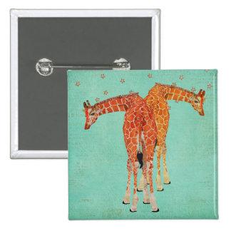 Giraffes Starry Blue Button