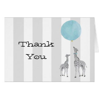 Giraffes With Balloon Thank You Note Card