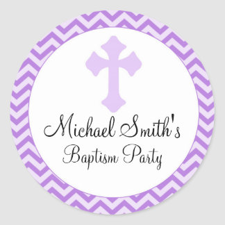 GirBaptism Confirmation Purple Lavender Label Round Sticker