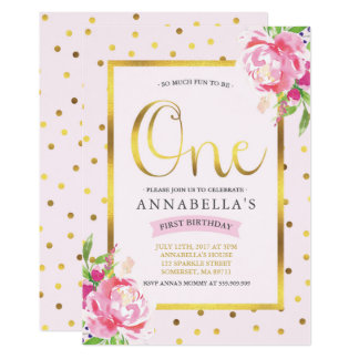 Girl 1st Birthday Invitation Floral Pink And Gold