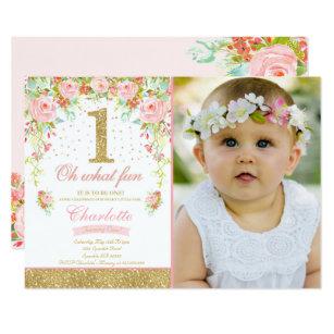 Girl 1st Birthday Invitations Zazzle Com Au