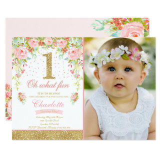 St Birthday Invitations Announcements Zazzlecomau - Baby girl first birthday invitation ideas