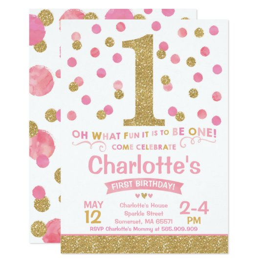 First Birthday Party In A Box In Gold Mint And Pink: Girl 1st Birthday Invitation Pink & Gold Confetti