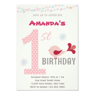 Girl 1st Birthday Party Invitation Bird Pink
