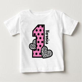 GIRL 1st Birthday PINK Polka Dots Zebra Hearts Baby T-Shirt