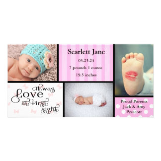 Girl 3 Photo Collage-Birth Announcement Photo Card