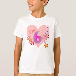 Girl 6th birthday pink heart and flowers T-Shirt