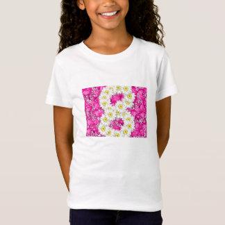 Girl 8th birthday pink flowers t-shirt