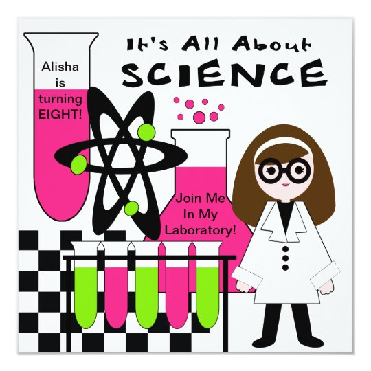Girl All About Science Birthday Party Invitation