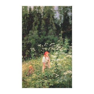 Girl among the wild flowers, 1880 stretched canvas print