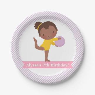 Girl and Ball Gymnastics Kids Birthday Party Plate
