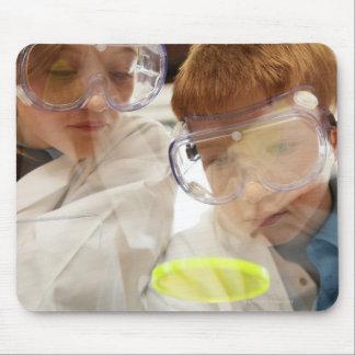 Girl and boy (11-13) looking at petri dish, view mouse pad