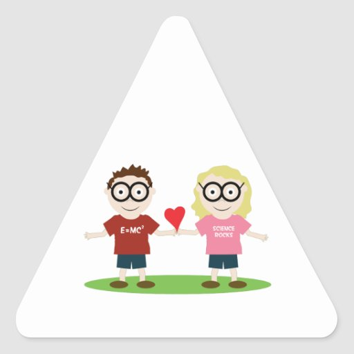 Girl and Boy Geek Triangle Stickers