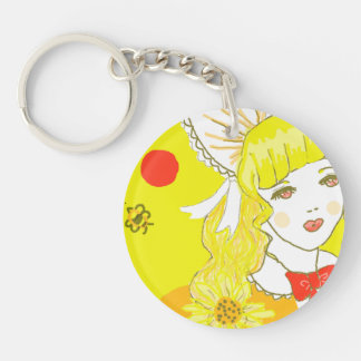 Girl and Buzzing Bee Double-Sided Round Acrylic Keychain