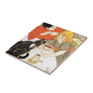 Girl and Cat, Alexandre Steinlen Small Square Tile
