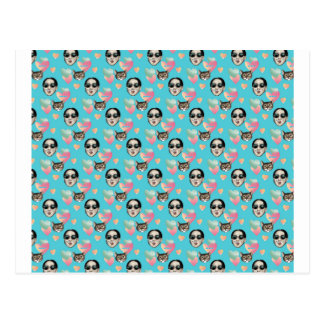 girl and cat blue pattern postcard