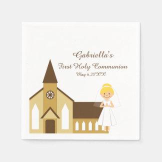 Girl And Church Communion Personalized Napkin Paper Napkin